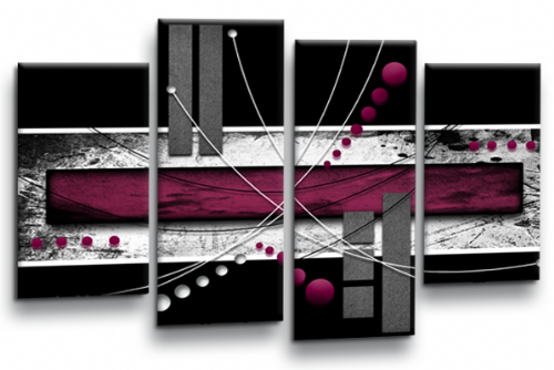 Abstract Burgundy Grey White Black Canvas Wall Art Picture Print